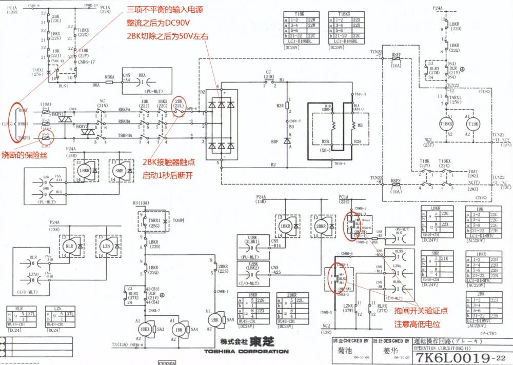 电梯CV330小机房 曳引机:永磁同步 故障现象:电梯已经启动,但主机没加电流,向上溜车,马上急停,报45故障,不管上还是下都是向上溜车,最终溜到顶层,对重墩底。 分析:由于是单纯性的报45故障,根据故障代码的解释:抱闸异常释放,理解为抱闸反馈信号异常。解决思路为抱闸开关。东芝在抱闸反馈检测里一共有两个故障代码,一个是44,一个是45。44为抱闸异常开放。45为抱闸异常释放。44的故障反馈点接在抱闸接触器上(闭点),检测接触器的状态。接触器粘连或者闭点接触不良会报此故障。 45的故障反馈点接在抱闸开关上